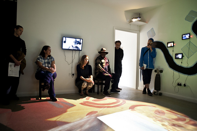 Gretta Louw and Jampijimpa Patrick in the Yama installation. Photo by Pau Ros